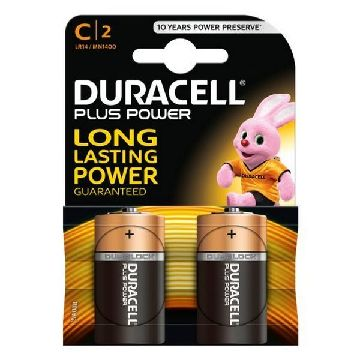 Alkaline Batteries DURACELL Plus Power DURLR14P2B LR14 C 1.5V (2 pcs)