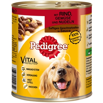 Pedigree 800g tin with beef, vegetables & noodles