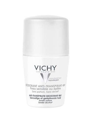 Vichy Body Antiperspirant 48H Roll On White Cap 50ml For Sensitive Skin / Alcohol Free