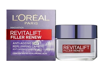 L' Oreal Revitalift Filler Anti Ageing Day Cream Replumping 50ml contains Hyaluronic Acid