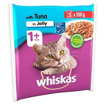Whiskas 1+ Cat Pouch Tuna In Jelly  3X100G