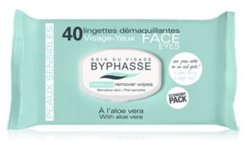 Byphasse Remover Cleansing Wipes 40 U. Aloe Vera Sensitive Skin