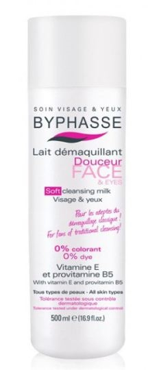 Byphasse Cleansing Milk 500 ml  Vitamin E Provitamin B5 Face & Eyes All Skin Types