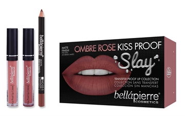 Bellapierre Kiss Proof Slay Lip Kit Ombre Rose 3Pc