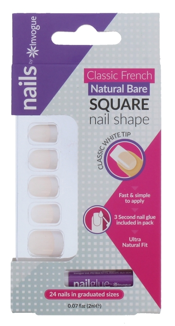 Invogue Square Natural Bare False Nails With Glue 24 Pack