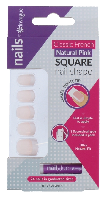Invogue Square Natural Pink False Nails With Glue 24 Pack