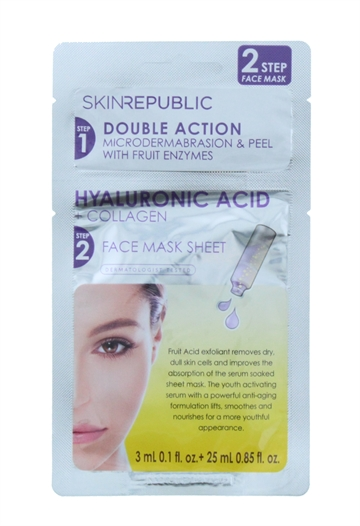 Skin Republic 28ml Two Step Sheet Mask Hyaluronic Acid & Collagen