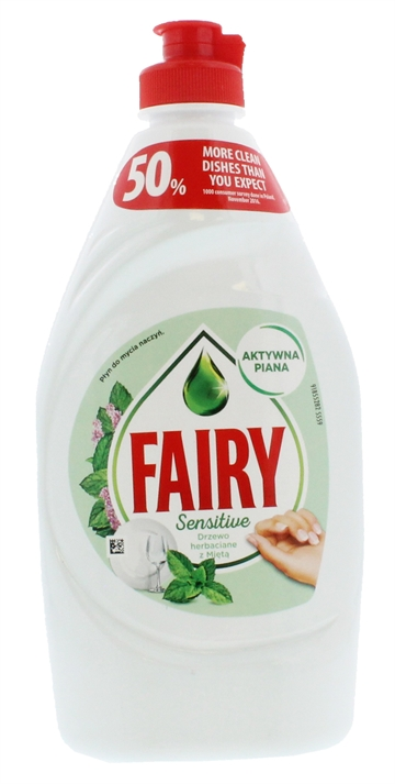 FAIRY TEATREE & MINT DISHWASHING LIQUID SENSITIVE 450ML