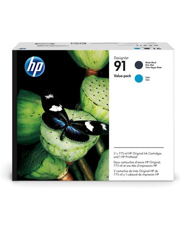 HP 91 P2V35A Mat Sort / Cyan Printhoved