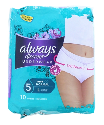 Always Discreet Sensitive Bladder Pants Large 10'S