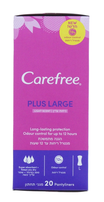 Carefree Pantyliners Plus Large Light Scented 20'S