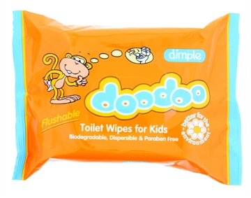 Dimple Doodoo Flushable Kids Toilet Wipes 60'