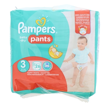 Pampers Baby Dry Nappy Pants Size 3 26'S