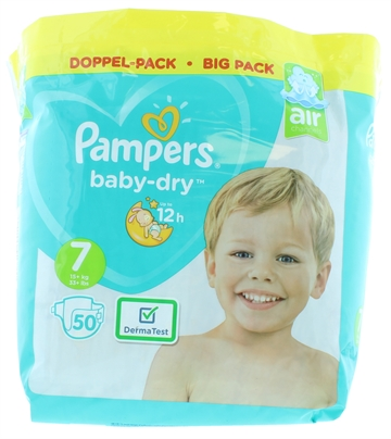 Pampers Baby Dry Nappies Size 7 50'S
