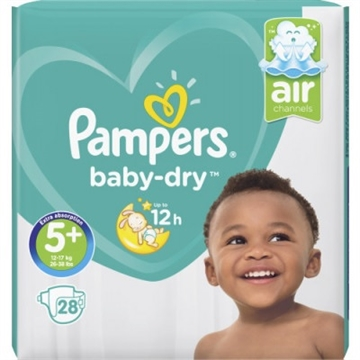 Pampers Baby Dry Nappies Size 5+ 28'S