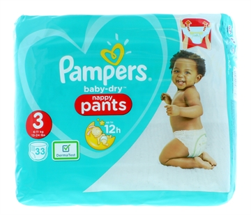 Pampers Baby Dry Pants Size 3 33'S