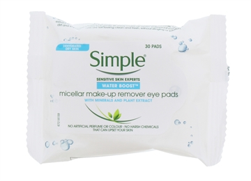 Simple Micellar Make Up Remover Eye Pads Water Boost 30'S