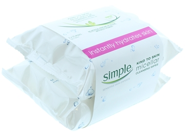 Simple Facial Cleansing Wipes Micellar Water Twin Pack