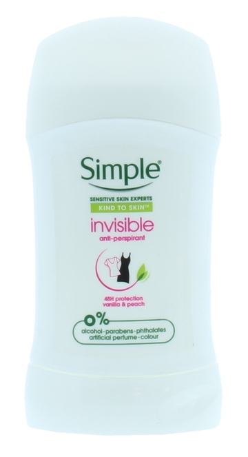 Simple 40ml Anti Perspirant Stick Invisible Kiss